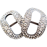 Sparkling pair of 18th C. silver shoe buckles set with cut paste stones : Louis XVI / Georgian period