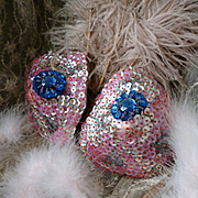 French cabaret : stage show girl pink sequin beaded bra : theater costume : period display