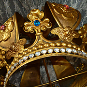 Enormous 19th C. French bejeweled gilt metal religious crown : angels : 11 inches high  x 10 1/2 inches wide