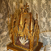 Superb 19th C. French brass Gothic style reliquary : St Francois et Ste Clare d' Assisi