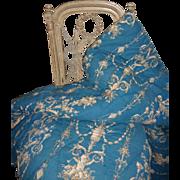 Charming antique French hand made blue quilt : courtepointe : cherub motifs