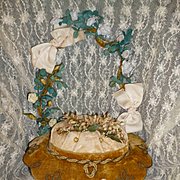 Faded grandeur antique French bridal basket wedding stand :  16 porcelain roses & rosebuds