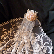 Exquisite 19th C. small ecru  hand applied net lace veil : floral foliage and scroll motifs