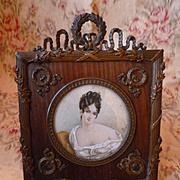 Ornate 19th C. French bronze & wood mat photo frame : Empire style : portrait miniature : wreath motifs