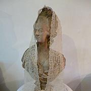 Exquisite 19th C. Brussels duchesse point de gaze lace barbe : lappet : rose motifs : hand made