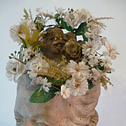 Adorable 19th C. French floral crown : 1869 : perfect antique doll accessory