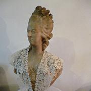 Exquisite antique Brussels Duchesse point de gaze ladies ecru collar : rose motifs : petals : hand made
