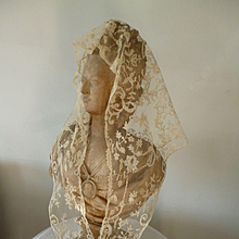 Exquisite 19th C. ecru net lace shawl : hand applied floral foliage motifs