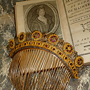 Rare French gilt brass cut steel : paste stones tiara comb : diadem: circa 1815 -1830 : Georgian period
