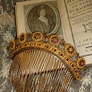 Rare French gilt brass cut steel : paste stones tiara comb : diadem: circa 1815 -1830 : Georgian period