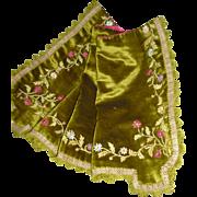 Pretty 19th C. French moss green velvet valance : pelmet : ribbon work flowers & foliage