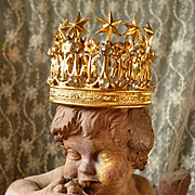 Decorative old French brass & paste stone miniature crown : doll size : star : lily flowers