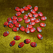 Charming old French red & black ladybird beads  ( 30 ) doll projects