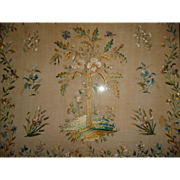 Beautiful antique French framed silk work embroidery : oak tree floral foliage and butterfly motifs