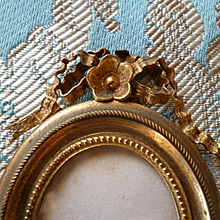 Pretty 19th C. French miniature brass photo frame : fashion doll accessory : floral motif