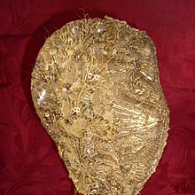 Early 19th C. French gold metallic thread embroidered ladies cap: sequins : paste stones : Alsace region
