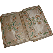 Exquisite 18th C. silk wallet : purse hand embroidery : floral & foliage motifs