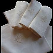 Beautiful set 8 French linen damask napkins : serviettes : monogram  PGB : floral bouquet motifs