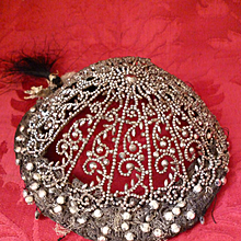 Rare early 19th C. beautiful cut steel cap : coiffe : headdress : glass beads : passementerie