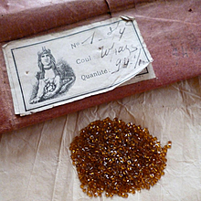Batch French faceted square faux topaz jewels : old packaging : projects