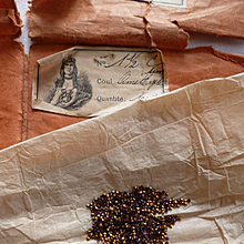 Batch tiny square faux amethyst stone jewels : old packaging : projects