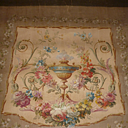 Decorative antique French tapestry furniture pattern : hand painted vase : flowers : floral garlands :scroll motifs
