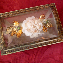 Unusual early 19th C. French domed glass candy box  : rose :  sarcophagus shape : boite a dragees