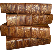 Stack antique large faded grandeur faux book box folders :  tooled leather spines : gold lettering & decoration
