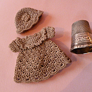 Darling old French tiny hand made dress and hat : antique lilliputian mignonette doll