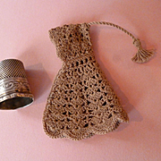 Darling old French miniature hand made hooded cape with tassel : lilliputian mignonette doll size