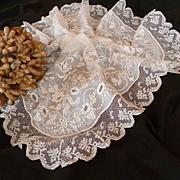 Exquisite 19th C. French large hand embroidered wedding handkerchief : hanky : lace flounce