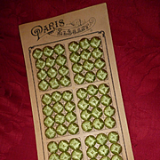 Superb old French mint green silk covered buttons : unused still on card  ( 12 )