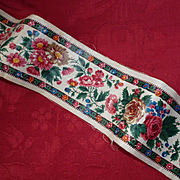 Decorative 19th C. printed glazed cotton trim : passementerie : floral & foliage motifs : projects