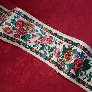 Decorative 19th C. printed glazed cotton trim : passementerie : floral & foliage motifs : projects