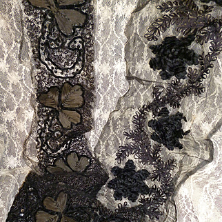 Decorative French old hand embroidered black shop sample applications : projects