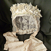 Exquisite French bride's lace wedding bonnet : artificial flowers : silk ribbon : 1900 : Normandy region