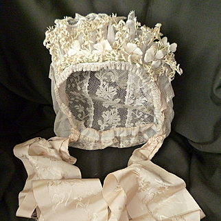 Exquisite French bride's lace wedding bonnet : artificial flowers : silk ribbon : 1900 : Normandy region