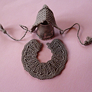 Charming old French hand made tiny hat and collar : lilliputian or mignonette doll size