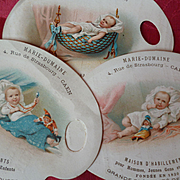 Batch pretty 19th C. French shop trading cards : Babies or toddlers with dolls : Marie - Dumaine  Caen ( 3 )