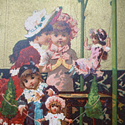 Charming old French shop advertising trade card : young girls : dolls on swings : Chocolat Guerin-Boutron
