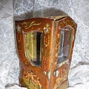 Charming antique French sedan chair vitrine / box jewel / doll cherubs