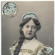 Antique 1905 embossed German French postcard Lady with long braided hair