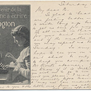 1900 Paris Expo REMINGTON Typewriter French postcard English Message