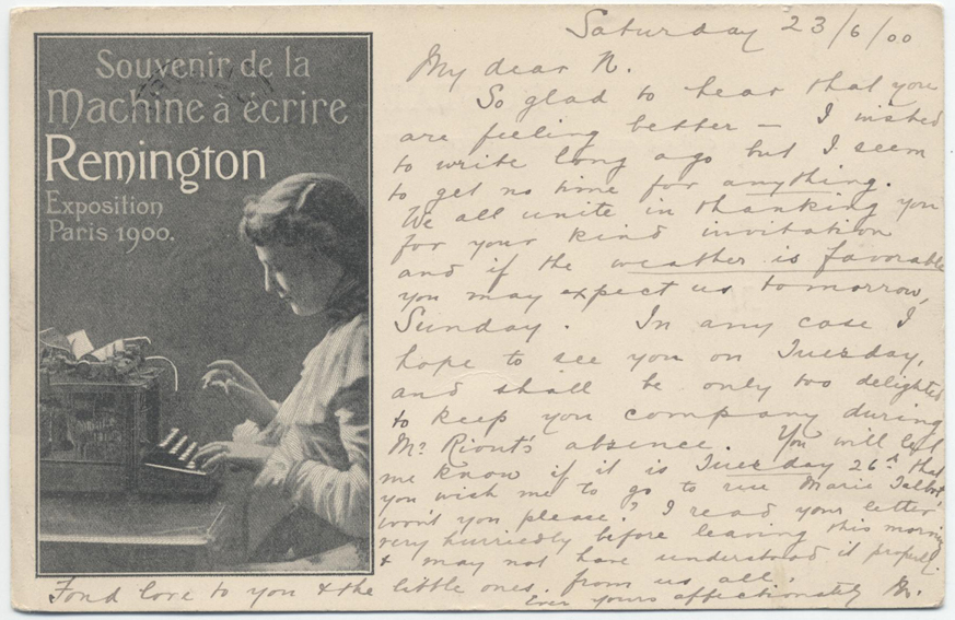 1900 Paris Expo REMINGTON Typewriter French postcard English Message