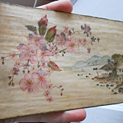 Vintage Handpainted SILK French postcard UNIQUE