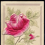 Embossed  Fuchsia ROSE French postcard
