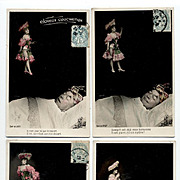Sexy Cancan Dancer 4 French Postcards DREAMING Montage 1906