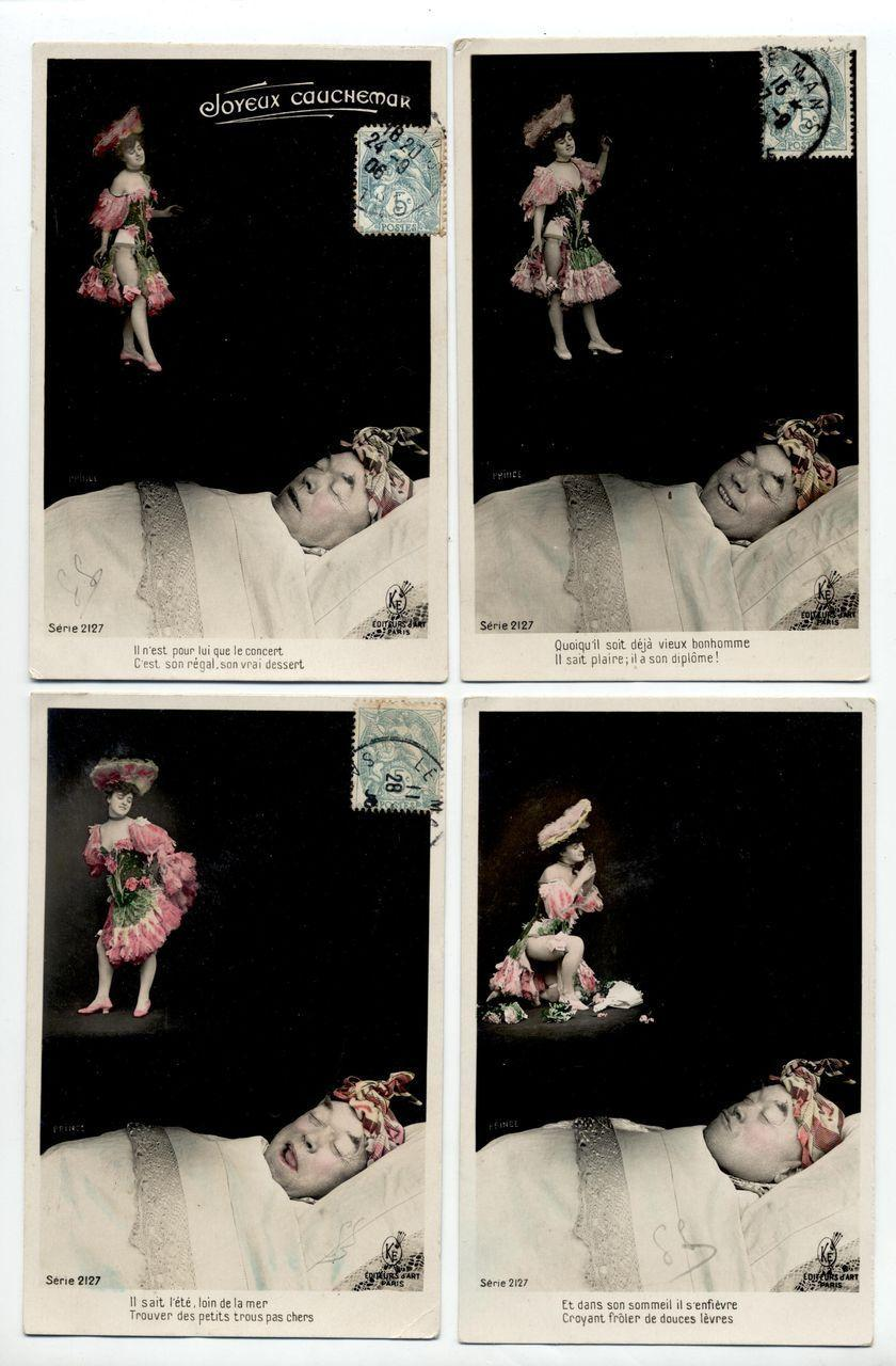 4 French Postcards Sexy Cancan Dancer  Man Dreaming Montage 1906