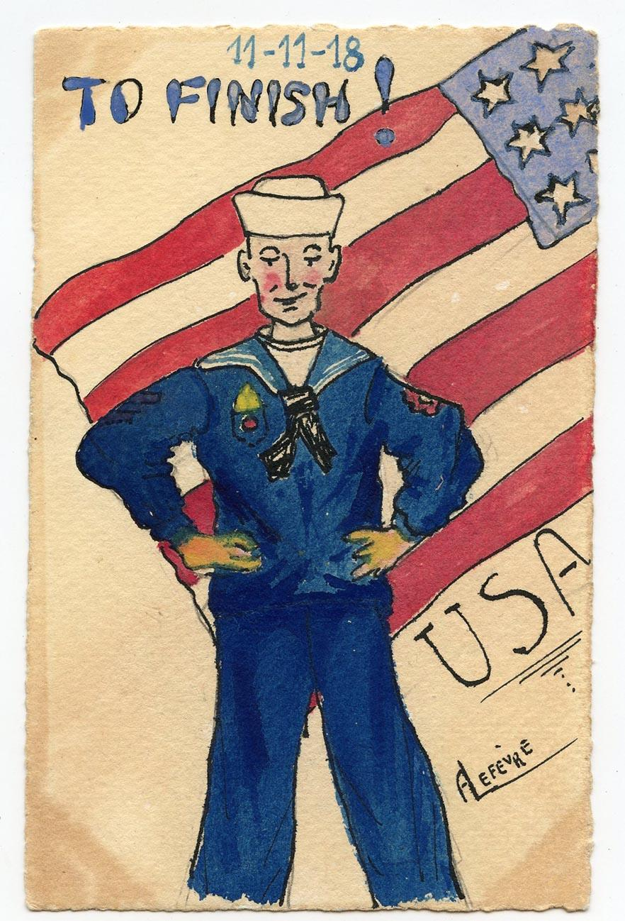 Unique Watercolor of USA Sailor Handmade 1918 World War I French Thank You Postcard