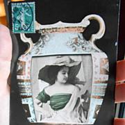 Woman in Greek Vase Real Photo montage 1911 NPG German printed postcard